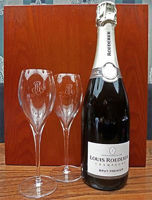Louis Roederer Brut Premier Champagne 75cl and two branded flutes in Wooden Box
