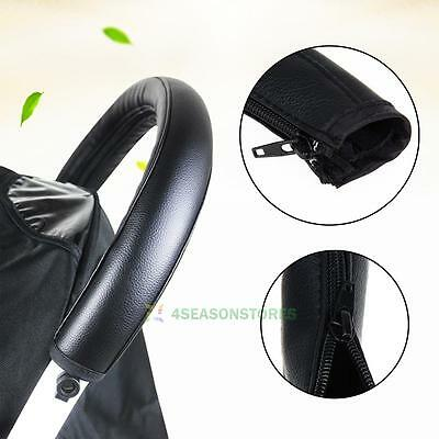 Baby Pushchair Pram Stroller Grip Handle Artificial Pu Protective Case Covers