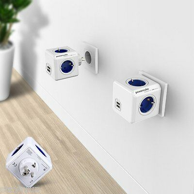 1 Piece Allocacoc PowerCube Original Power Socket 4 Outlets 2 USB Ports Adapter