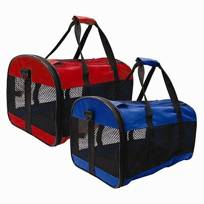 1XBlue PET CARRIER COLLAPSIBLE FOLD AWAY, CAT, SMALL DOG, RABBIT CARRIERS TRAVEL