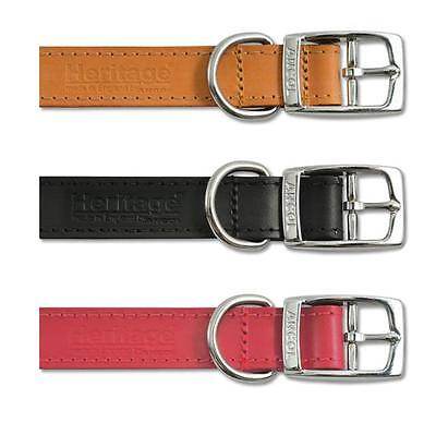 Ancol Heritage Quality Leather Dog Puppy Collars & Lead- Red, Brown, Black, Tan