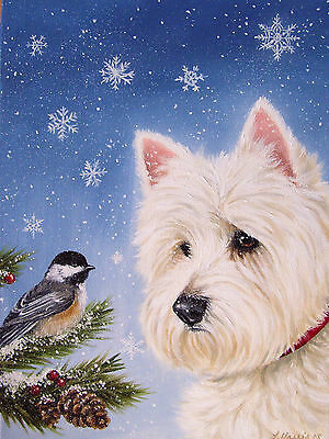 Westie Winter Wonders  House Flag Free Ship Usa Rescue