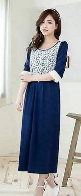 Maternity Nursing Breastfeeding Long dress ,Navy with Lace UK8-12