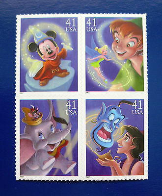 Sc # 4192-4195 (4195a) ~ Block of 4 ~ 41 cent Art of Disney, Magic Issue