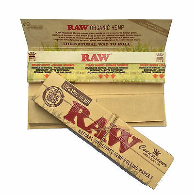 Organic Hemp Connoisseur King size Raw Rolling papers + Filters box of 24