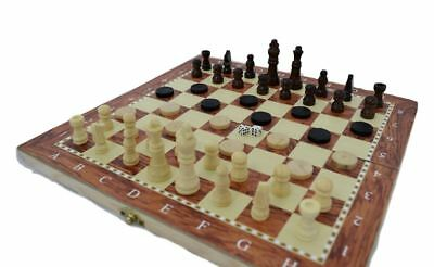 SHINE 3 IN 1 Natural Wooden Folding Chess/Checkers/backgammon Game Set 34X34 CM