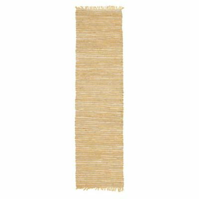 NEW Rug Culture Indra Jute & Leather Runner Rug, Yellow