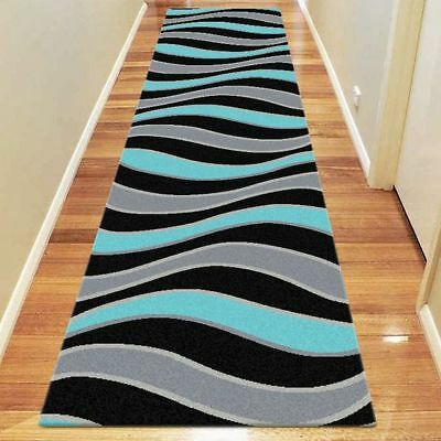 NEW Saray Rugs Sea Ride Modern Runner Rug in Blue, Bronze, Green
