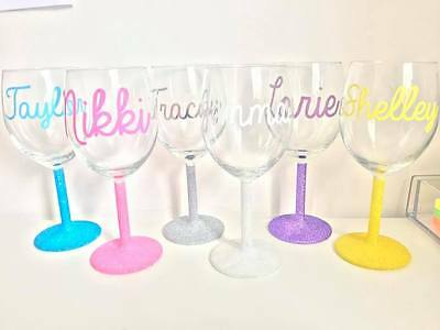 Personalised glitter Wine Glass - Any colour!