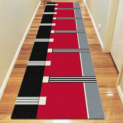 NEW Saray Rugs Strapped Modern Runner Rug in Black