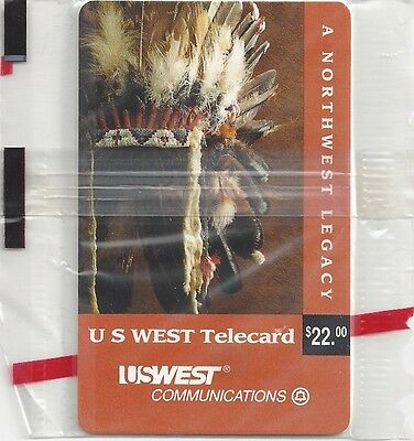 TK Telefonkarte/Phonecard US West Native American:1890 Chief's Headdress Set (5)