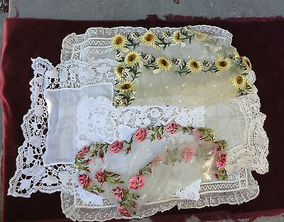 Great Group 6 Antique Hand Made Lace Handkerchiefs