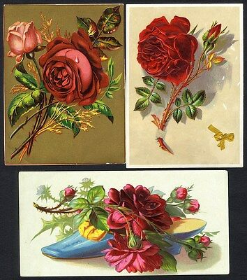 RED VICTORIAN ROSES - 3 Cards 1880's - Blue Slipper Shoe Filled with Roses