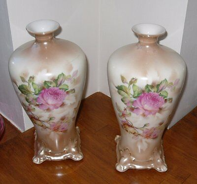 "Pair of Antique Doulton Burslem Blush Ivory Vases - 9.75"" High x 5"" Diameter"
