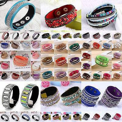 Leather Wrap Wristband Cuff Punk Crystal Rhinestone Multilayer Bracelet Bangle H