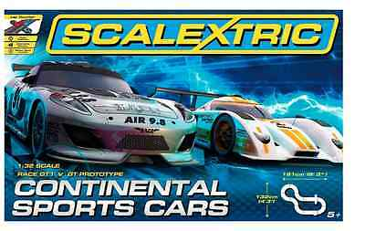 Scalextric Continental Sports Cars Set Race 1:32 Scale 4 Track Layouts New