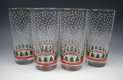 Lot of 6 Libbey Glass LRS61-CHRISTMAS TREES 15 oz. Flat Tumblers EXCELLENT