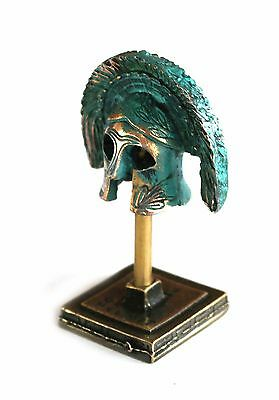 ANCIENT GREEK ZAMAC MINIATURE SPARTAN ARISTOCRAT HELMET ON A STAND green-gold