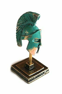 ANCIENT GREEK ZAMAC MINIATURE SPARTAN HELMET ON A STAND green-gold