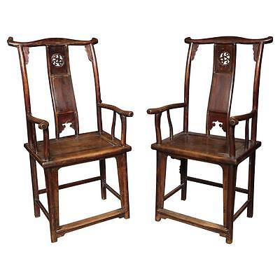 Minister Hat  Arm Chairs, Pair