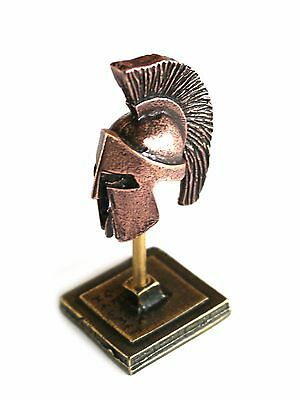 ANCIENT GREEK ZAMAC MINIATURE SPARTAN HELMET ON A STAND copper