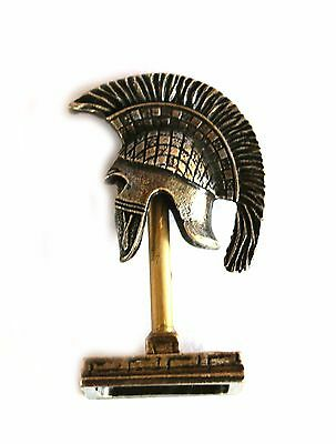ANCIENT GREEK ZAMAC MINIATURE ATHENIAN HELMET ON A STAND silver