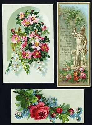 ROSE ROSES and Wild Roses - 3 Victorian Greeting Cards 1880's Forget Me Nots