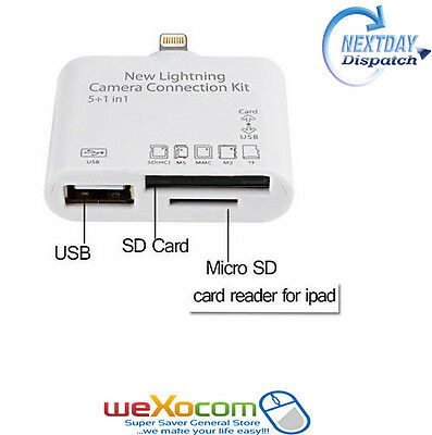 USB MS MMC TF SD Card Reader Adapter for iPad 4 Air Mini 2 Camera Connection Kit