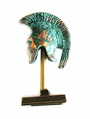 ANCIENT GREEK ZAMAC MINIATURE ATHENIAN HELMET ON A STAND green-gold