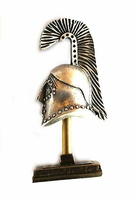 ANCIENT GREEK ZAMAC MINIATURE ATHENIAN BATTLE HELMET ON A STAND silver