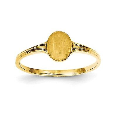 14k Yellow Gold Engravable Polished & Satin Child's Signet Ring