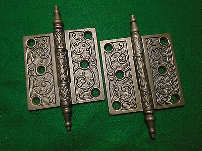 "Pair Vintage Eastlake Hinges  3 1/2""  X 3 1/2""  Steeple Top - Beautiful  (6460)"