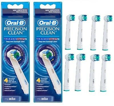 8 Genuine Braun Oral B Precision Clean Toothbrush Replacement Heads Eb20-4 3  ^