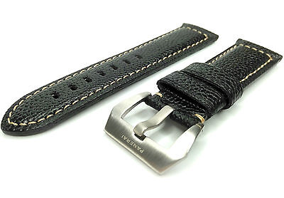 Genuine Leather Band/Strap for PANERAI Officine LUMINOR watch 24mm BLACK +BUCKLE