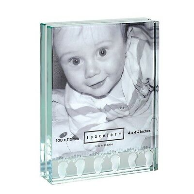 Spaceform Glass Baby Feet Photo Frame Baby Shower Newborn Christening Gift