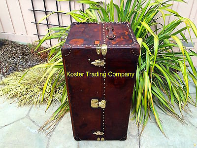 LOUIS VUITTON Antique Leather Travel Wardrobe Steamer Trunk chest purse bag LV