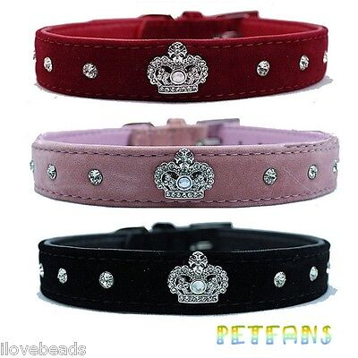 Puppy Pet Dog Collars Crystal Diamond Leather Crown Bling Rhinestone Dog Collar