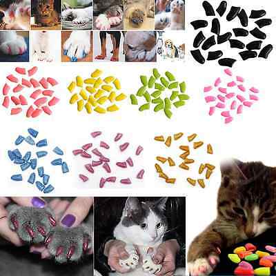 20/40Pcs Simple Soft Rubber Dog Pet Cat Kitten Paw Claw Control Nail Cover Caps