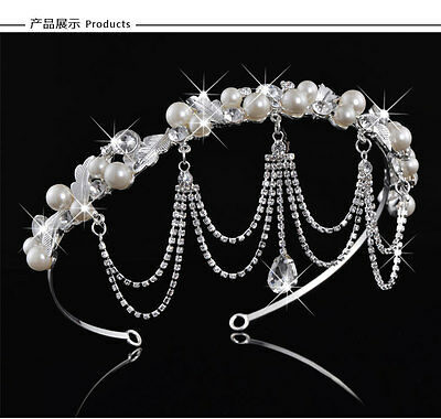 Exquisite Pearl Crystal Front Let Wedding Bridal Headdress Headband Crown Tiara