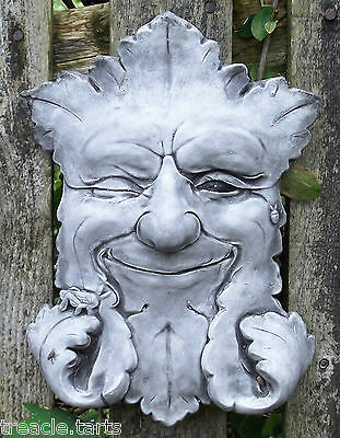 Winking Green Man Smiling Stone Garden Ornament Plaque Pagan. 18 x 5 x 24 cms