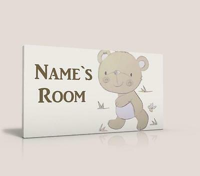 Personalised Door Sign / Name Plaque Bear And Friends Free P&p
