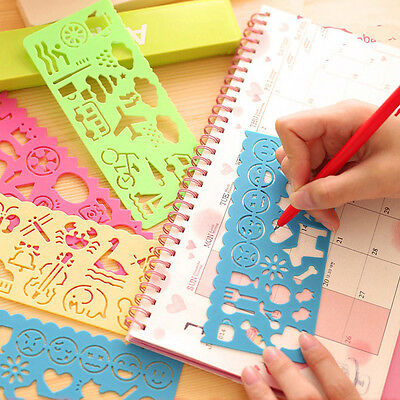 4x Kids Students Scrapbooking Drawing Template Stencils Rulers Painting Tool DIY