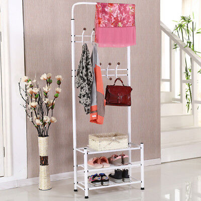 Multipurpose Metal Coat Hat Rack Stand Storage Clothes Shoes Shelves 18 Hooks