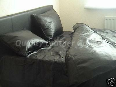 100% Genuine Premium Cow Leather Duvet Cover All Sizes Black Two Side Leather