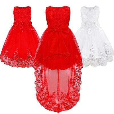 Kid Floral Lace Birthday Pageant Wedding Princess Party Formal Flower Girl Dress