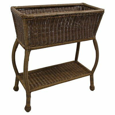 International Caravan Resin Wicker Rectangular Plant Stand Mocha NEW