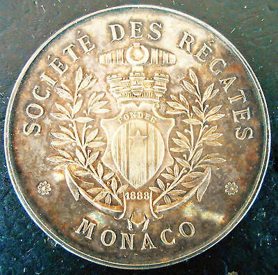 Monaco-1888-Yacht Club - Superb Large Silver -Extemely Rare