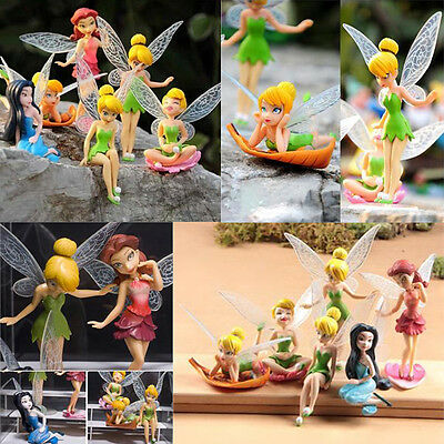 6pcs Tinker Bell Fairies Princess Figures Cake Topper Secret Kids Party Toy