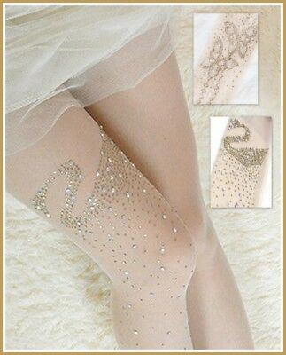 Girls Crystal Rhinestone Sparkling Diamante Tights-Pantyhose -Bridesmaid Wedding