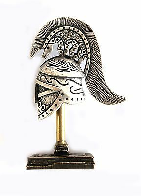 ANCIENT GREEK ZAMAC MINIATURE THESPIAN HELMET ON A STAND silver